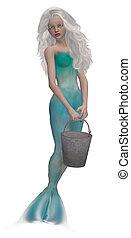 Little Mermaid - Little mermaid with big blue eyes