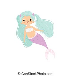 Little Mermaid with Beautiful Turquoise Hair, Cute Sea Princess Character Vector Illustration