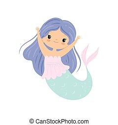Little Mermaid with Long Beautiful Blue Hair, Cute Sea Princess Character Vector Illustration