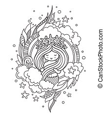 Little mermaid with wreath of starfish, surrounded by clouds.