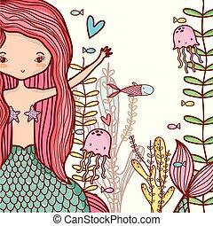 Little mermaids cute cartoons