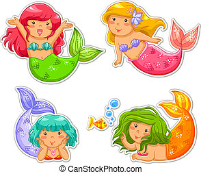 little mermaids - set of cartoon little mermaid
