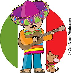 Little Mexico - A Mexican man playing guitar and serenading...