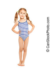 Little model in stripped swimming suit - Little model...