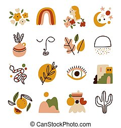 Little modern style illustrations collection, vector set