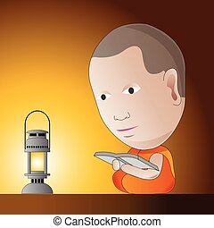little monk is learning Dharma in a night by oil lamp, to be guru and to be a wisdom in Dharma, vector illustration in cartoon design