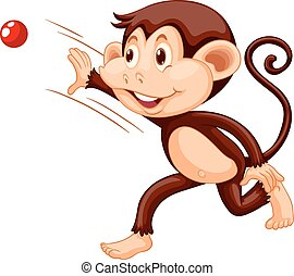 Little monkey throwing red ball illustration