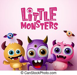 Little monster characters 3d realistic concept vector background design.