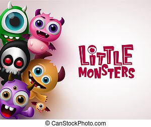 Little monster with 3d realistic character vector background template.