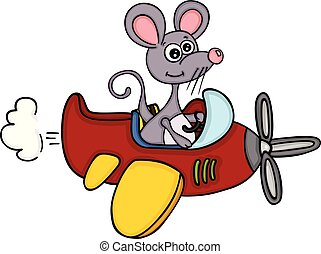 Little mouse flying an airplane