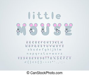 Little mouse, gray color. Cartoon vector alphabet. Uppercase letters and numbers with cute animal faces, with pink nose and ears. Funny font for kids, toys, games design