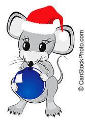 Little Mouse Holding Christmas Bauble - Little mouse cartoon...
