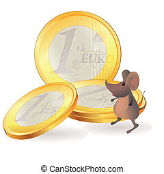 Little mouse near Euro coins