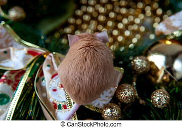 Little mouse on the background of Christmas decorations