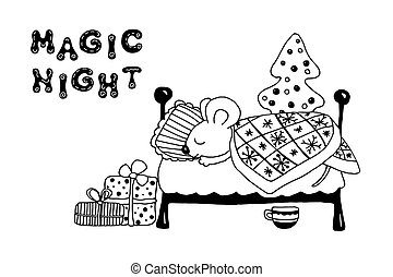 Little mouse sleeps in the bed near the Christmas tree with gifts. The inscription magic night isolated on a white background. Hand vector illustration with the symbol of the New Year 2020.