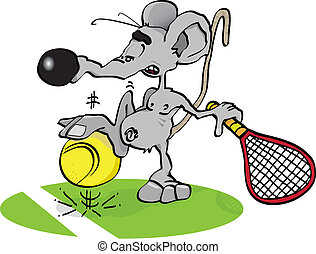 little mouse tennisman - A mouse is playing tennis