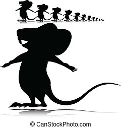 little mouse vector silhouettes