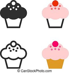 Little muffin cupcake with cream - Vector