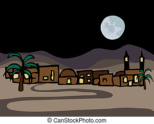 A small near east desert town iwith full moon at night