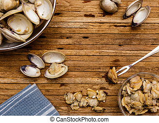 Little Neck Clams On Cutting Board - Overhead photo of ...