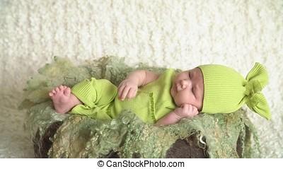 Little Newborn Baby Sleeping - Little newborn baby girl is...