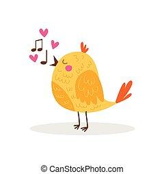 Little orange yellow bird singing a song