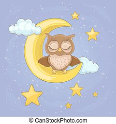 little owl sitting on a moon with clouds and night stars, with closed eyes. vector cartoon illustration