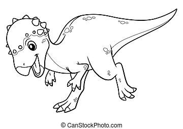 Little Pachycephalosaurus Cartoon Illustration BW