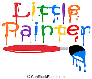 Little Painter and Wet Paint Brush with Clipping Path Illustration Isolated on White Background