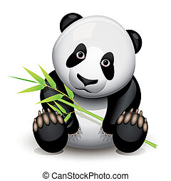 Little panda and bamboo isolated on white