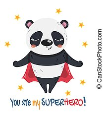 Little Panda Super Hero flying with a red cape