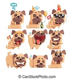 Little Pet Pug Dog Puppy With Collar Collection Of Emoji Facial Expressions And Activities Cartoon Illustrations