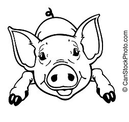 little pig ,black and white isolated image