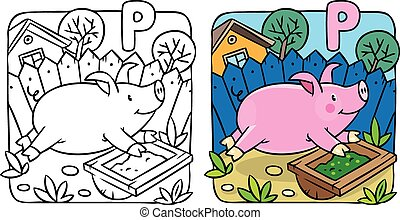 Little pig coloring book. Alphabet P