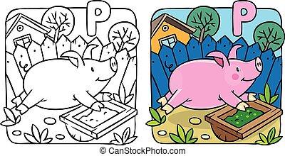Little pig coloring book. Alphabet P
