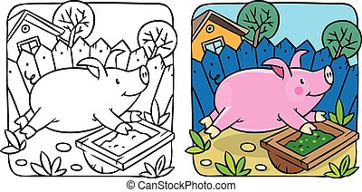 Little pig coloring book