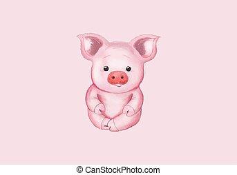 Little pig. Cute watercolor illustration