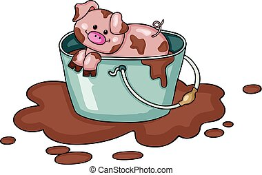 Little pig in bucket full of mud - Scalable vectorial image...