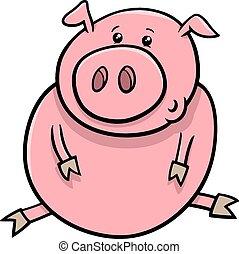 little pig or piglet cartoon - Cartoon Illustration of Cute...