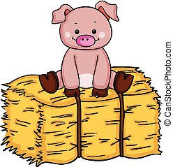 Little pig up on bale of hay