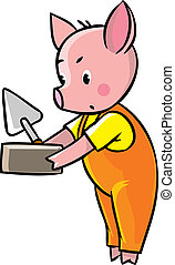 Little piglet with brick and trowel - Children vector...