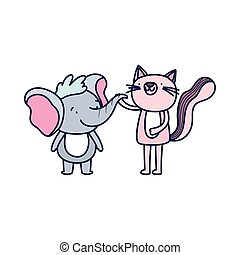 little pink cat and elephant cartoon character on white background