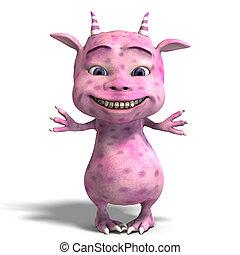 little pink cute toon dragon devil - 3D rendering of a...