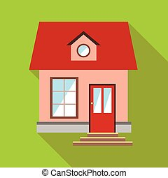 Little pink house icon, flat style