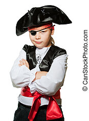 Little pirate - A boy is dressed in the suit of pirate. a...