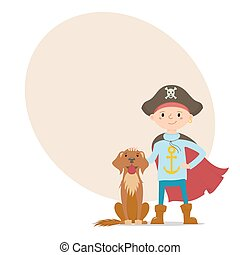 Little pirate boy with dog and place for text