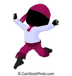 Little Pirate Girl Illustration Silhouette - Little pirate...