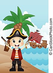 Little Pirate on Beach Cartoon