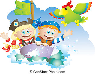 Little pirates - Cartoon illustration of a little boy and...
