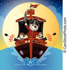 Little Pirates Sailing With Ship